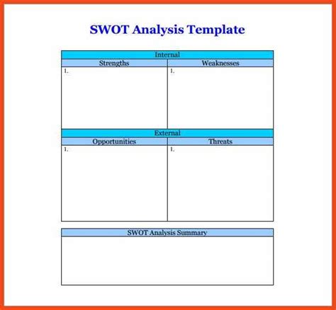 swot template for word swot analysis template word sop format exle