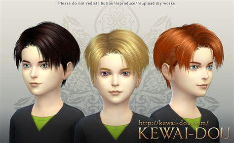 the sims 4 hair kids levi the sims4 child hair kewai dou
