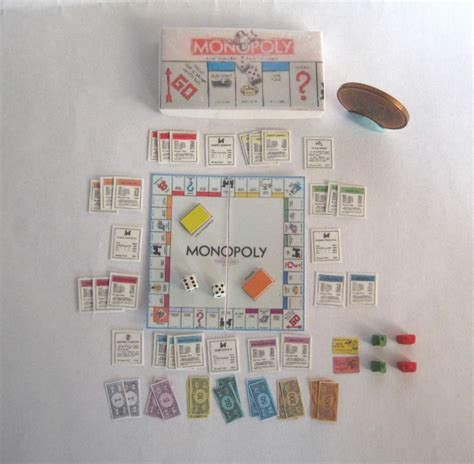 doll house setting games dollhouse miniature complete monopoly game set 1 12 scale