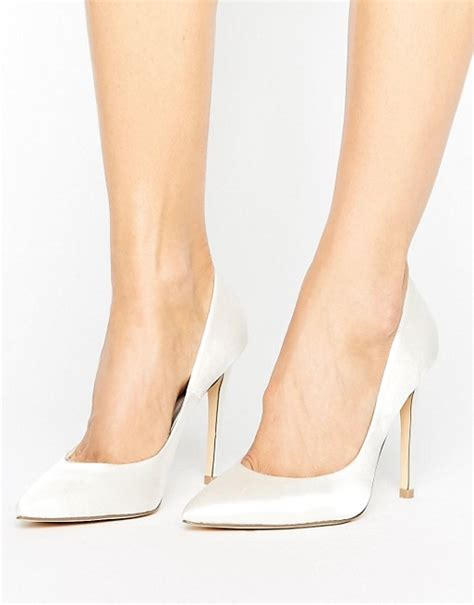 Faiths Heels by Faith Faith White Satin Pointed Court Shoes