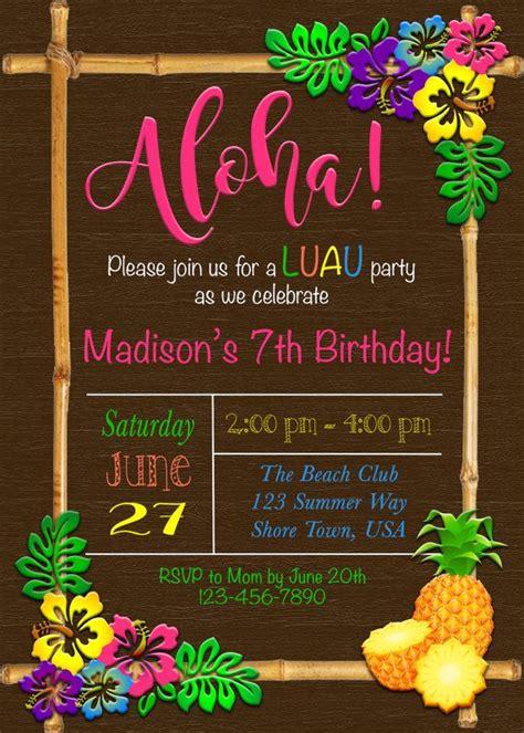 Luau Invitation Luau Birthday Invitation Hawaiian Invitation Hawaiian Party Invitations Luau Invitations Templates Free