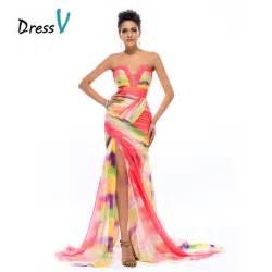 colorful prom dresses aliexpress buy dressv colorful print mermaid