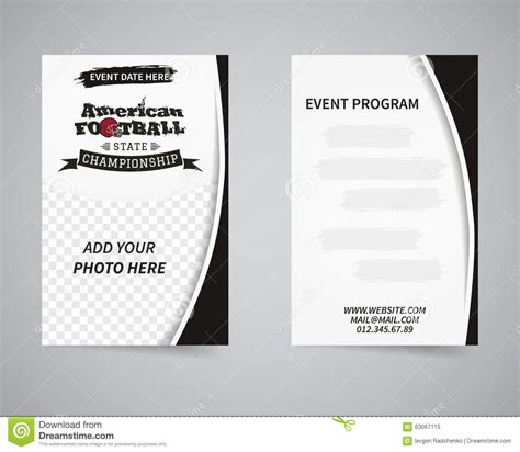 American Football Back And Front Flyer Template Stock Vector Image 63067115 Free Football Program Templates