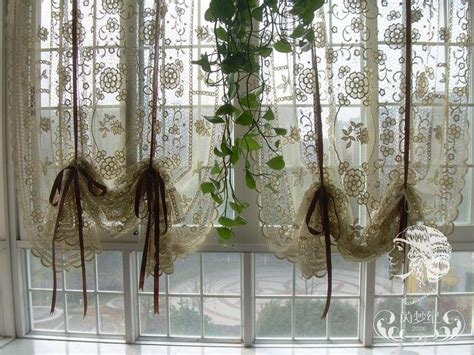 French country hand crochet lace balloon shade sheer cafe kitchen curtain 012 ebay