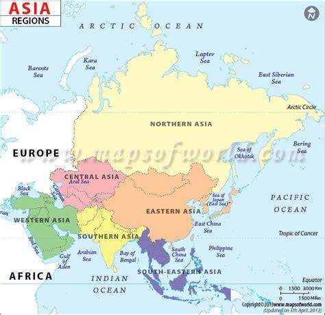 Asia Regions Map, Regions of Asia