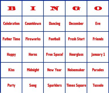 new year picture bingo new years day bingo cards