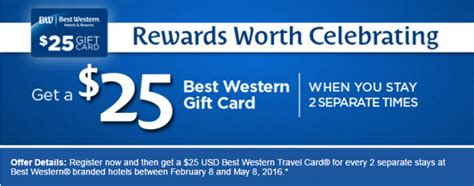 Choice Hotels Gift Card Promo - best western rewards 25 gift card promotion february 8 may 8 2016 loyaltylobby