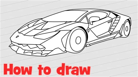 Lamborghini How To Draw How To Draw A Car Lamborghini Centenario Step By Step