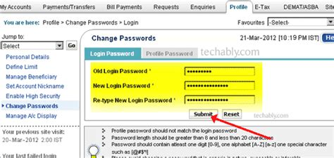 reset sbi online account password how to change sbi netbanking password