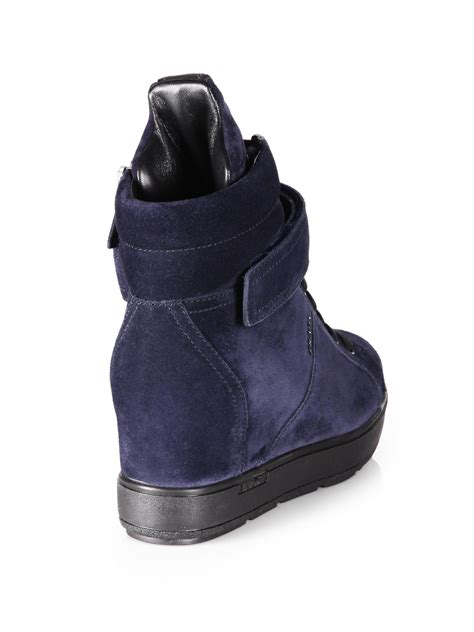 Prada Sneakers Prada Wedges prada suede laceup wedge sneakers in blue lyst