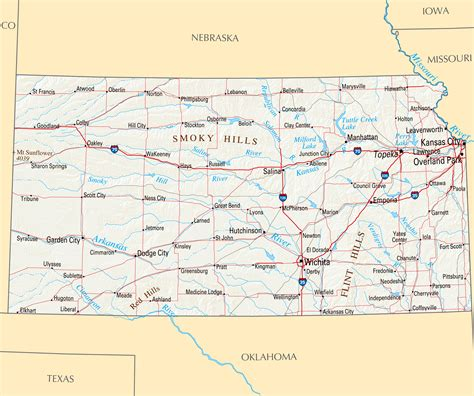 kansas map large highways map of kansas state with relief and major
