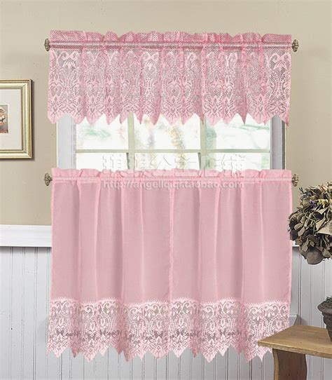 fashion fresh 2014 kitchen curtain small curtain pink lace