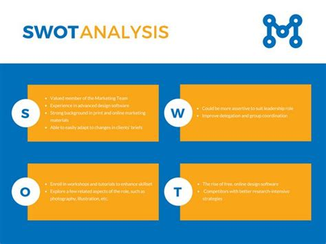 blue analysis blue and yellow corporate swot analysis templates by canva