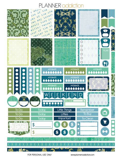 free printable daily planner stickers damask planner addiction