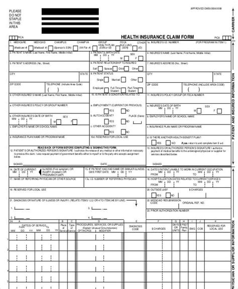 43 Printable Medical Forms Sle Templates Insurance Claim Form Template