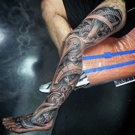 mechanical leg tattoo designs 56 mechanical gear tattoos