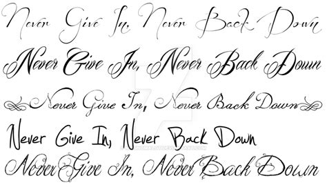 tattoo fonts up and down the gallery for gt never give up never back