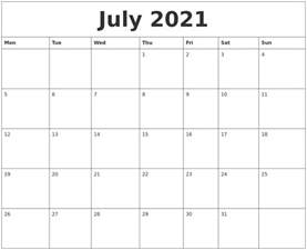 july 2021 printable calendar templates