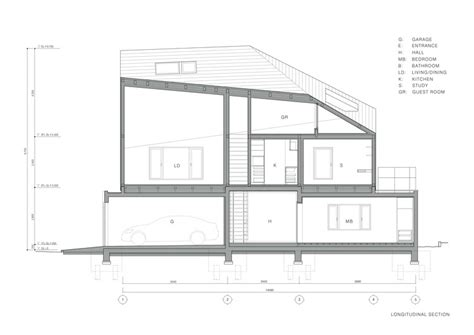 longitudinal section u house kias archdaily
