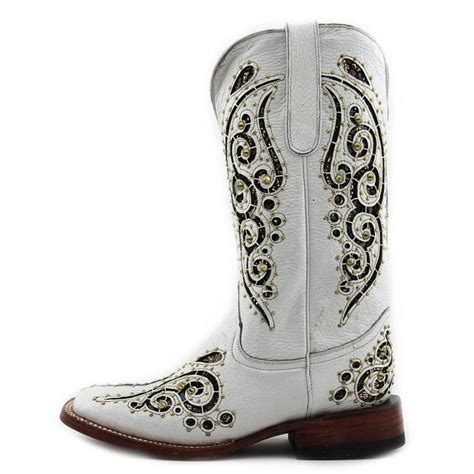 ferrini butterfly leather white western boot boots
