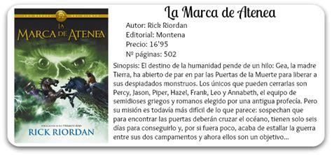 libro la marca de atenea avenida de las letras rese 209 a la marca de atenea rick riordan