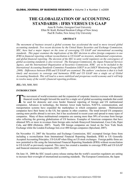 Gaap Vs Ifrs Research Paper by The Globalization Of Accounting Standards Ifrs Vs Us Gaap Pdf Available