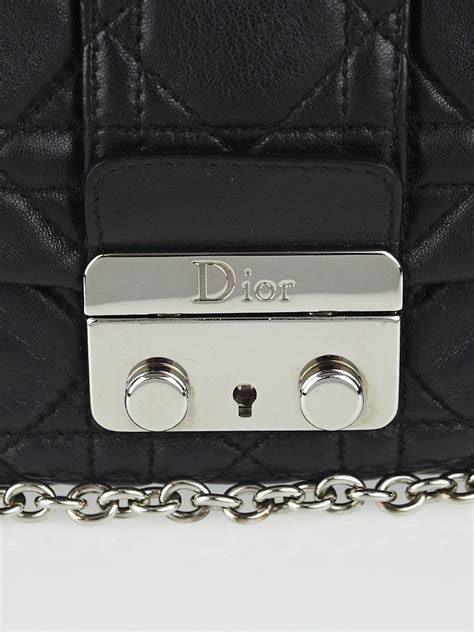 Vinyl Cannage D Clutch by Christian Black Cannage Quilted Lambskin Leather New