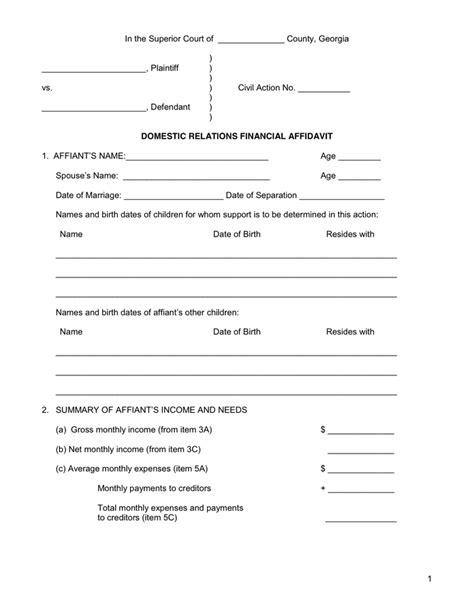 financial affidavit financial affidavit in word and pdf formats