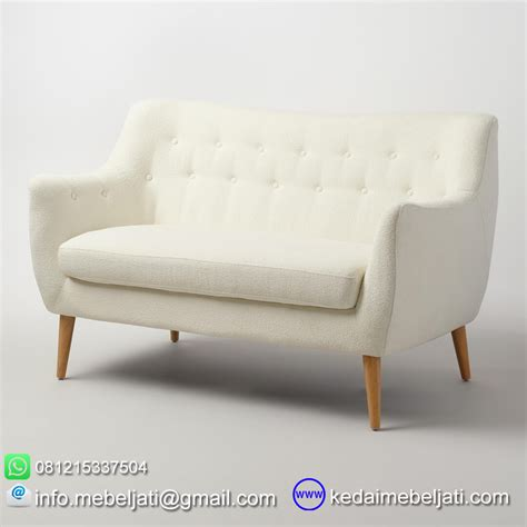 Sofa Jati beli kursi sofa retro minimalis bahan kayu jati jepara