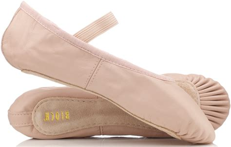 pink leather ballet shoes with pre sewn elastic by bloch