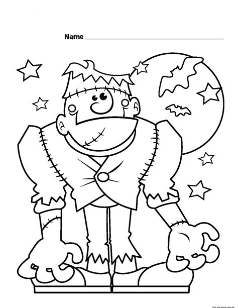 frankenstein monster halloween coloring page for kids