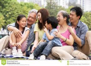 Rancher Home Plans Portrait Of Multi Generation Chinese Family Royalty Free