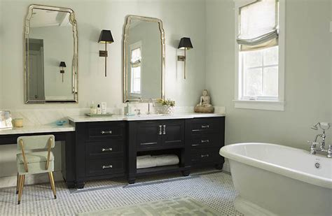 makeup vanity next to washstand transitional bathroom
