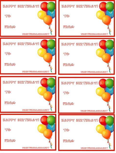 Printable Birthday Gift Tags Cards - free tag free printable tags party supplies birthday gift tag