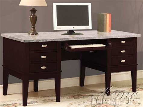 Espresso Office Desk Marble Top Home Office Desk In Espresso Finish By Acme 92008