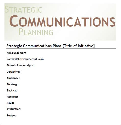 11 Sles Of Communication Plan Templates Sle Templates Strategic Communication Plan Template