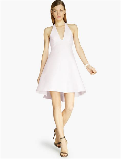 Silk Pink Dress lyst halter silk faille dress in pink