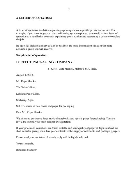 Quotation Request Letter Format Sle Business Letters