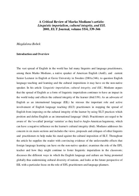 critical review  marko modianos article linguistic imperialism