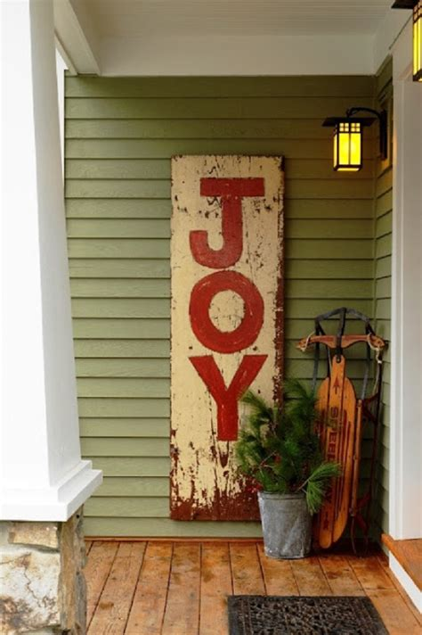 Christmas Tree Home Decorating Ideas joy christmas sign potted pine tree sleigh front porch