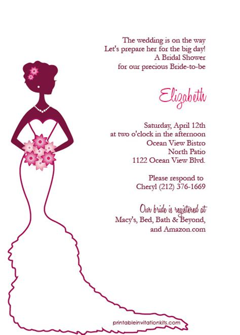 Bridal Shower Invitations Free by Bridal Shower Invitations Create Free Printable Bridal