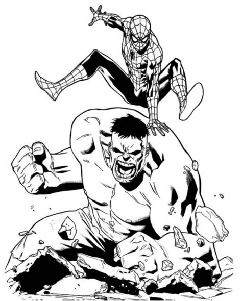 Spider Girl And Hulk Coloring Pages Zoo Animal Org Grig3 Spiderman Page Download For