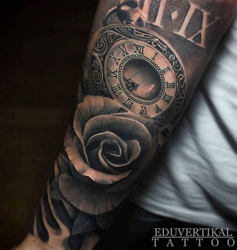 hand tattoo rose clock rose and clock