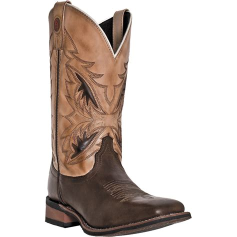 laredo mens brown leather razor square toe stockman cowboy