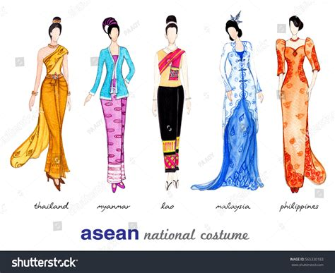 National Costumes Of Asean Member States | national costumes asean member states thailand stock