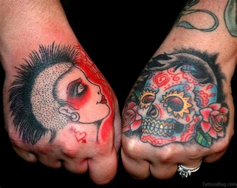 sugar skull finger tattoo 80 classic skull tattoos on