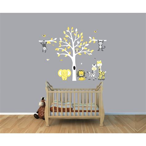 Palm Tree Wall Sticker yellow amp gray jungle tree wall decal with monkey wall