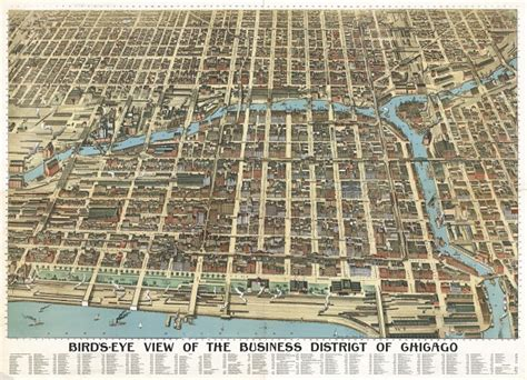 Birds Eye View Map Of House by New Vintage Map Bird S Eye View Of Chicago 1898