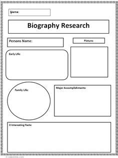 historical biography exle biography graphic organizer elementary reading