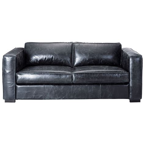 Sofa Bed Black Leather 3 Seater Leather Sofa Bed In Black Berlin Maisons Du Monde